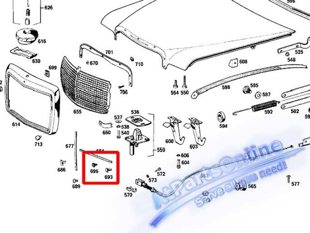 Auto Pro. กิ๊ปล็อคคิ้วโครเมี่ยมหน้ากระจัง รถเบนซ์ Mercedes-Benz W114 W115 W116 W123 W126 และ W201 8