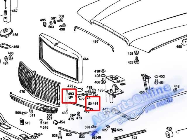 Auto Pro. กิ๊ปล็อคคิ้วโครเมี่ยมหน้ากระจัง รถเบนซ์ Mercedes-Benz W114 W115 W116 W123 W126 และ W201 9
