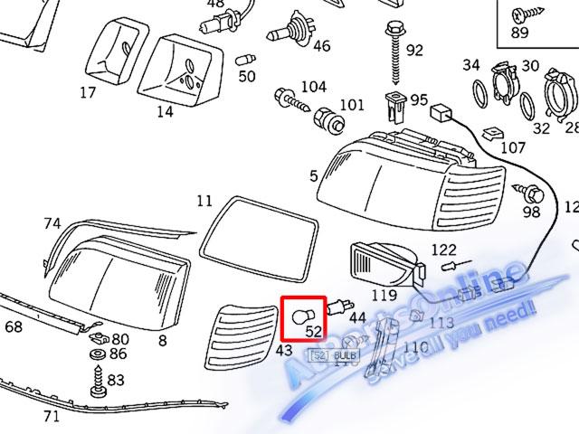 Auto Pro. หลอดไฟเลี้ยวสีส้ม สำหรับรถเบนซ์ Mercedes-Benz W107 W123 W124 W126 W129 W140 W201 W202 C-Cl 8