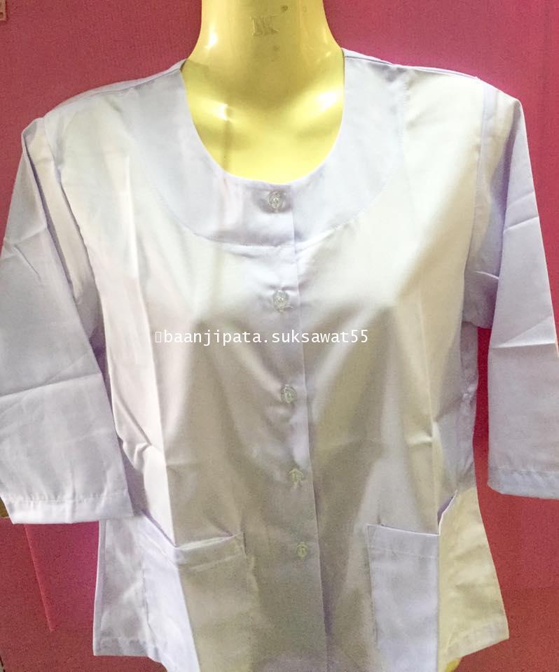 เสื้อขาวชีพราหมณ์ ผ้าTC แขนสามส่วน เบอร์2