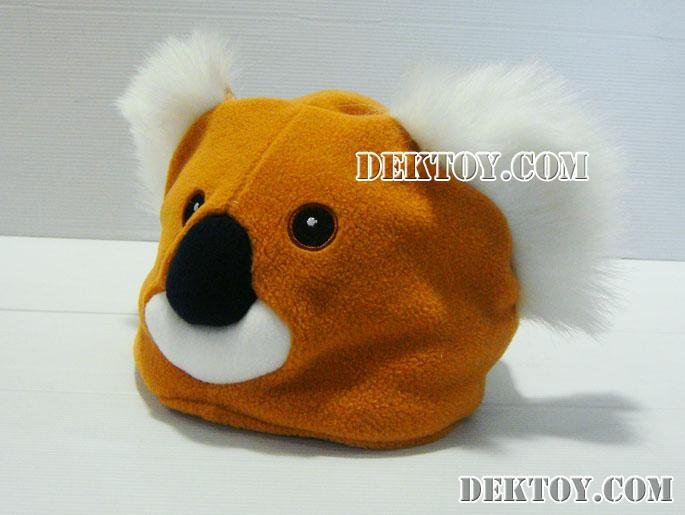 หมวกเด็กหน้าหมีโคล่า สีน้ำตาล