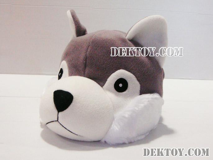 หมวกเด็กหน้าสุนัขไซบีเรีย สีเทา