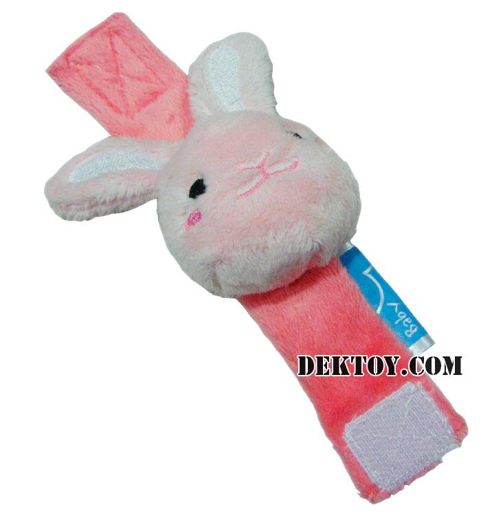 สายรัดข้อมือปาป้าผ้าเวลบัว หน้ากระต่าย CEQ-004/10