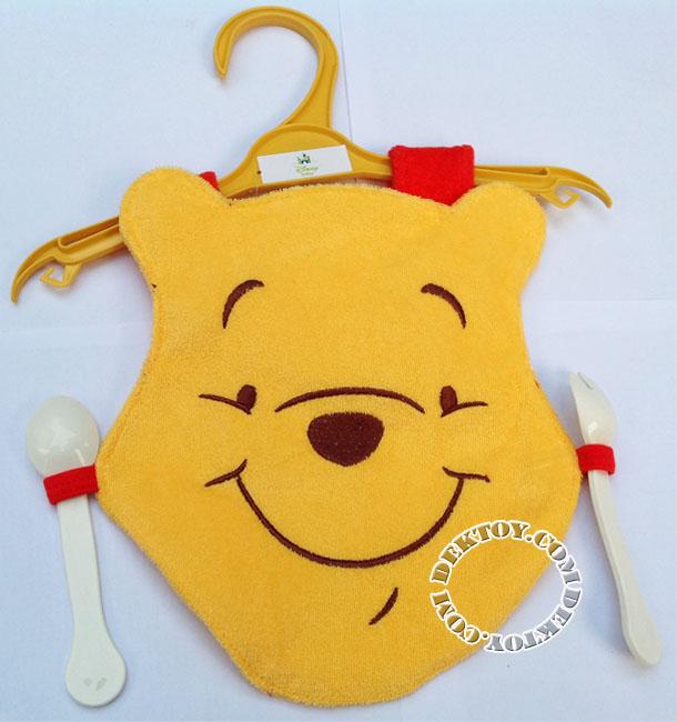 ผ้ากันเปื้อนเด็กหมีพูห์พร้อมช้อนส้อม
