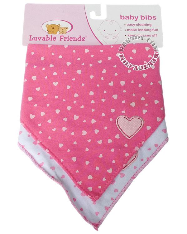 ผ้ากันเปื้อนเด็กแพ็ค2ผืนLuvable Friends สีชมพู 70050