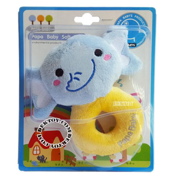 เขย่ามือผ้าเวลบัว Papa หน้าช้าง CEQ-004/11