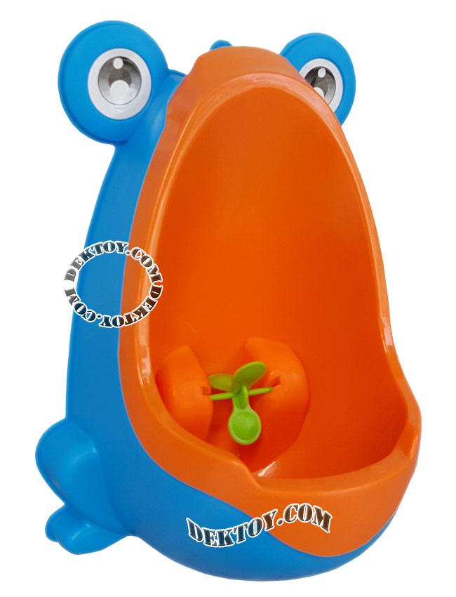 โถปัสสาวะเด็กชายแบบถอดล้างได้ทรงกบ สีฟ้าส้ม