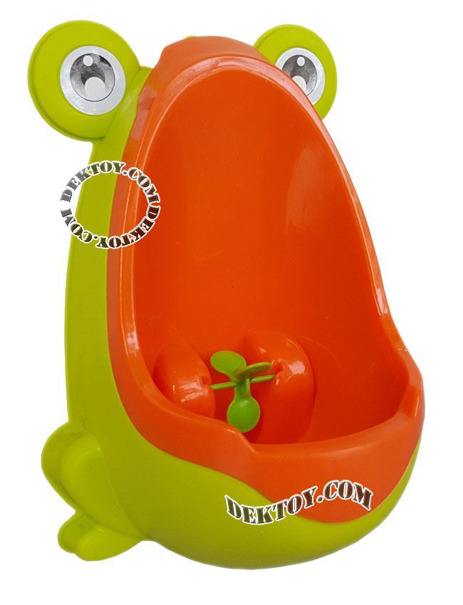 โถปัสสาวะเด็กชายแบบถอดล้างได้ทรงกบ สีเขียวส้ม