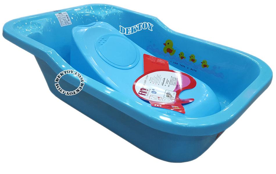Fin babies plus อ่างอาบน้ำเด็กมีรูระบายน้ำ A9C พร้อมที่รองอาบน้ำเด็กฟาร์ลิน A2 สีฟ้า