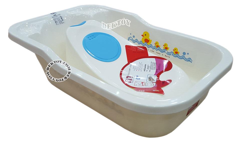 Fin babies plus อ่างอาบน้ำเด็กมีรูระบายน้ำ A9C พร้อมที่รองอาบน้ำเด็กฟาร์ลิน A2 สีขาว