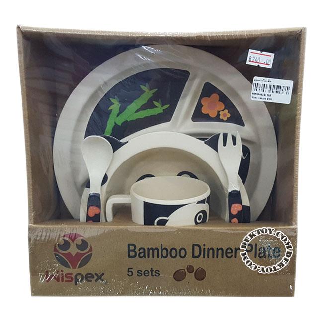 ชุดจานชามเยื่อไผ่ Wispex 5 ชิ้น Panda