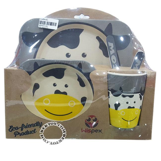 ชุดจานชามเยื่อไผ่ Wispex 5 ชิ้น Cow