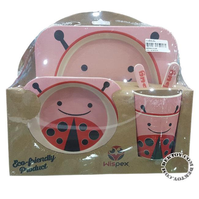 ชุดจานชามเยื่อไผ่ Wispex 5 ชิ้น Lady Bug