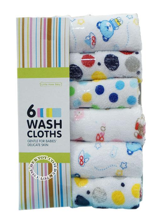 ผ้าเช็ดน้ำลายผ้าขนหนูลาย Littel home baby แพ็ค 6 ผืน