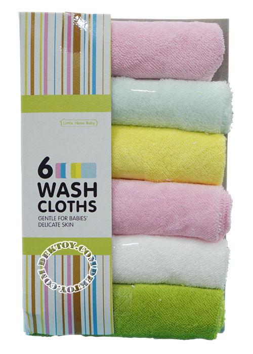 ผ้าเช็ดน้ำลายผ้าขนหนูสีพื้น Littel home baby แพ็ค 6 ผืน