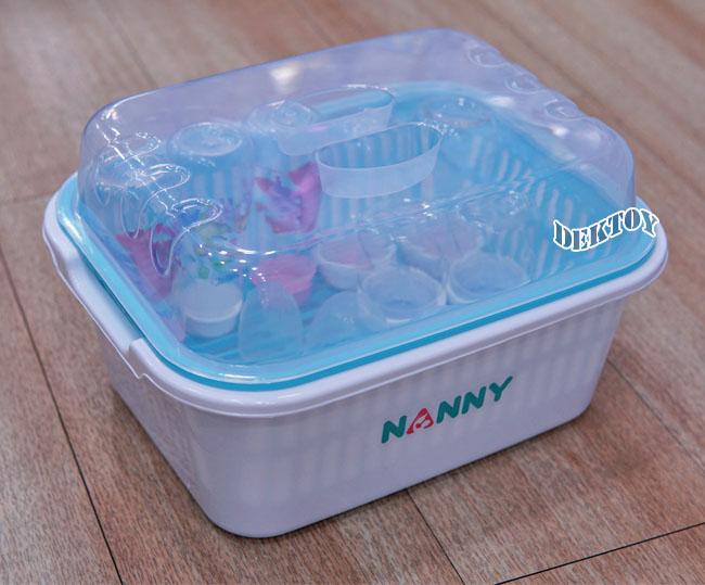 NANNY แนนนี่ ที่คว่ำขวดนมมีฝาปิดแนนนี่ N216 สีฟ้าขาว