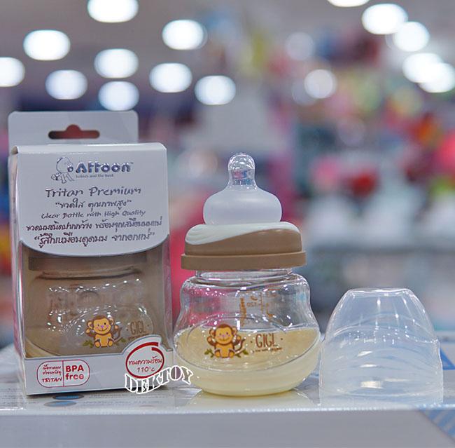 Attoon แอทตูน ขวดนมแอทตูน ไทรทัน Tritan คอกว้าง 5 ออนซ์ สีครีม