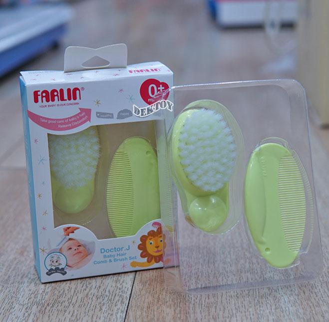ชุดแปรงหวีผมเด็กฟาร์ลิน Farlin Baby Comb  Brush Set USE150A สีเขียว