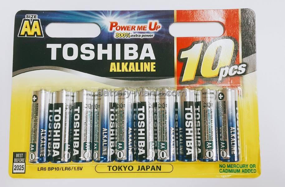 ถ่านอัลคาไลน์ AA แพ็ค 10 ก้อน Toshiba Alkaline Blueline LR6BP10