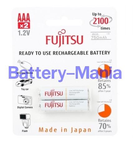 ถ่านชาร์จ AAA 800 mAh (แพ็ค2ก้อน) ขาว Fujitsu HR-4UTCEX