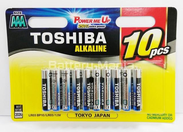 ถ่านอัลคาไลน์ AAA แพ็ค 10 ก้อน Toshiba Alkaline Blueline LR3BP10