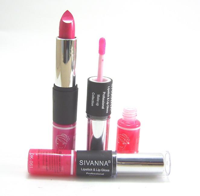 Sivanna lipstick+lipgloss DK061ลิปสติก+ลิปกรอส มีหลายเฉดสีให้เลือก ยกโหลคละได้
