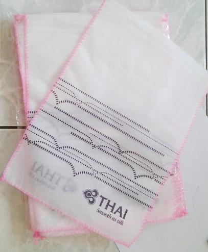 ถุงผ้าใส่เครื่องสำอางค์ไว้ขาย ตรา การบินไทย แพค 16 ใบ เบอรื 2