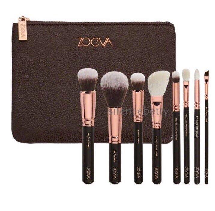 ZOEVA 8 ชิ้น แปรงแต่งหน้าพกพาความหรูหราพร้อมดีไซค์กระเป๋าใบใหญ่ติดซิปสีทองแดงสุดหรู