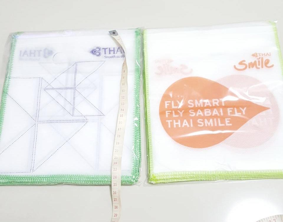 ถุงผ้าใส่เครื่องสำอางค์ไว้ขาย ตรา การบินไทย แพค 16 ใบ เบอรื 1.5