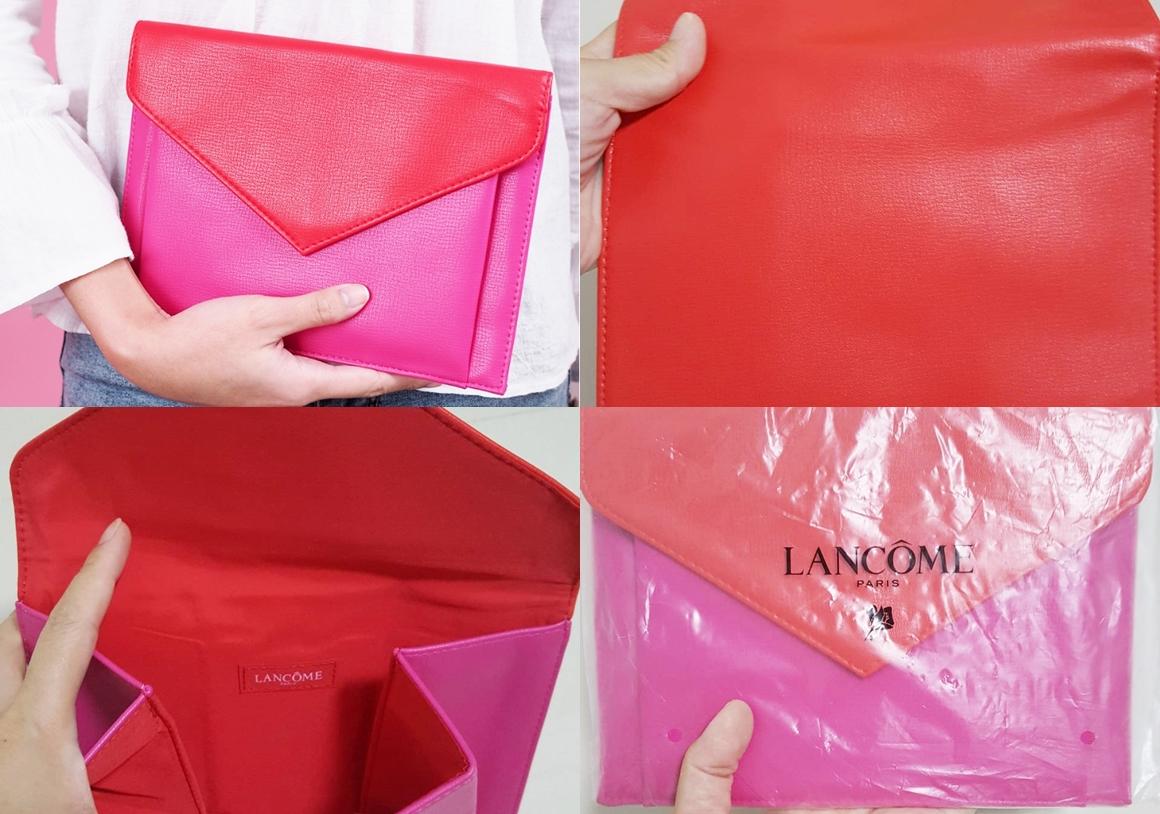 Lancome Envelope Purse Red  Pink Bag กระเป๋าคลัชสีแดงชมพูสุดหรู ของแท้ 1