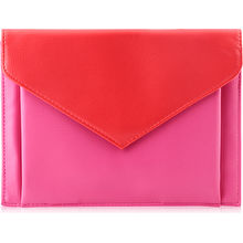 Lancome Envelope Purse Red  Pink Bag กระเป๋าคลัชสีแดงชมพูสุดหรู ของแท้
