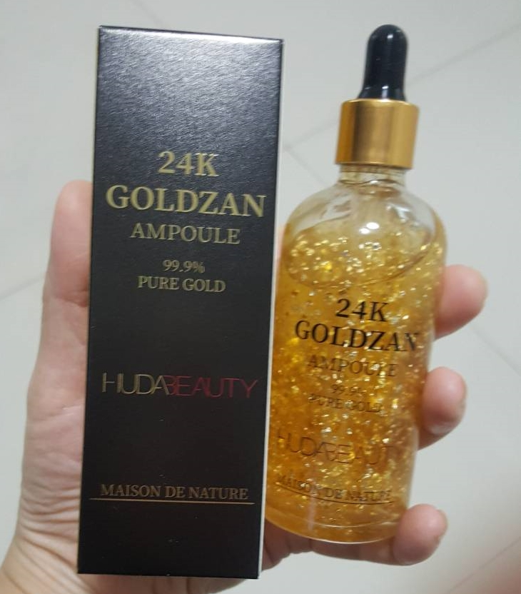 Huda beauty 24K GOLDZAN AMPOULE PURE GOLD 100ml. งานเกรดดีเยี่ยมทองเยอะภาพถ่ายจากสินค้าจริงค่ะ