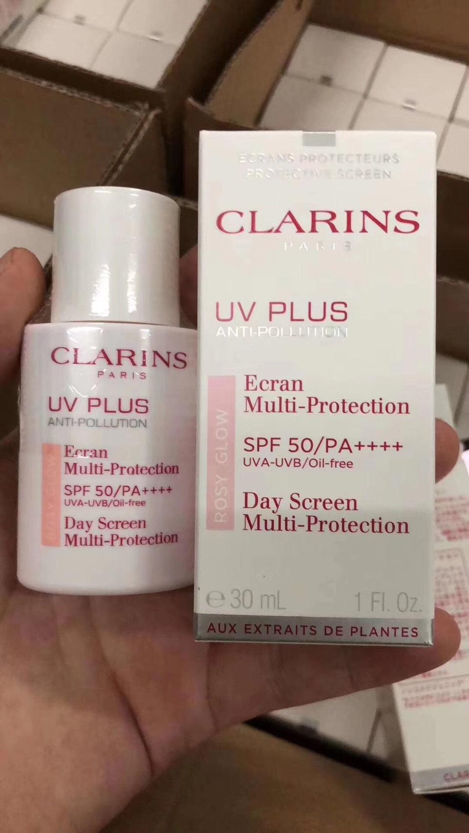Clarins UV Plus Anti-Pollution Day Screen Multi-Protection SPF 50/PA++++ ขนาด30ml.กันแดดเนื้อเบา