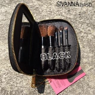 กระเป๋าแปรง Sivanna Secret  5 ชิ้น มีกระจกในตัว ของแท้ มี 2 สีให้เลือกดำ,ชมพู 1