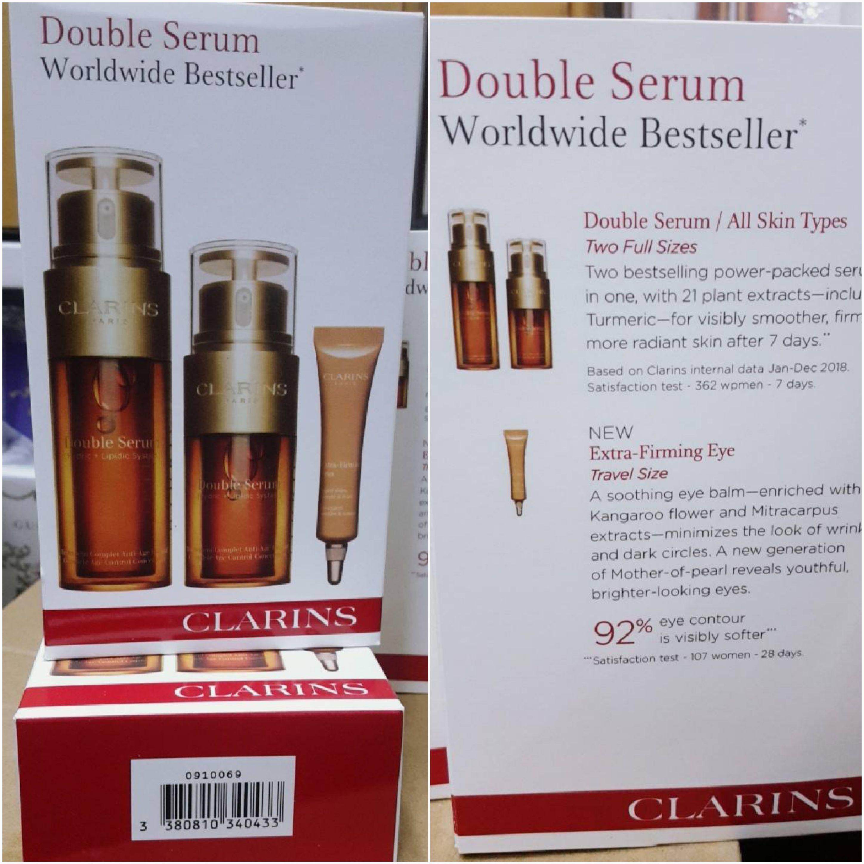 CLARINS DOUBLESERUM worldwide bestseller จัดเซตเซรั่มตัวดังที่สุดของคาแรงค์(แพคของขวัญ 3 ชิ้น)