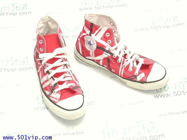 Used Converse สี แดง ลายขาว made in USA ปี 1990 เบอร 9