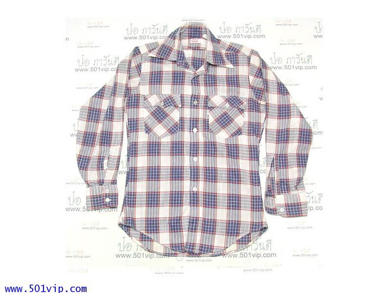 Used shirt ลีวาย ป้ายขาว ผ้าบาง USA ปี 1970 ไซด S