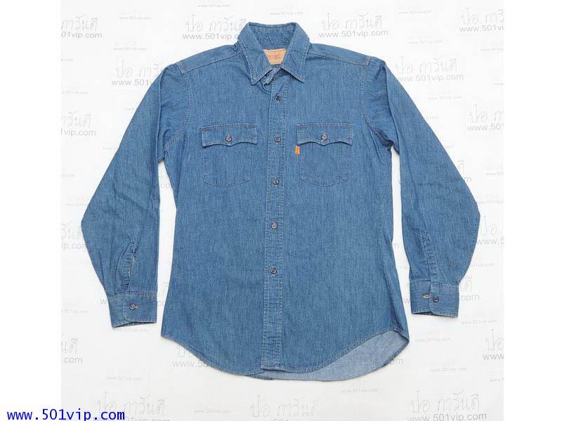 Used shirt ลีวาย 60665 1117 ยีนส์บาง USA ผลิตปี 1983 ไซส M