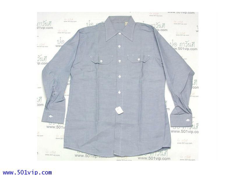 New shirt Wrangler chambray USA ปี 1960 ไซส M หรือ 15-15.5