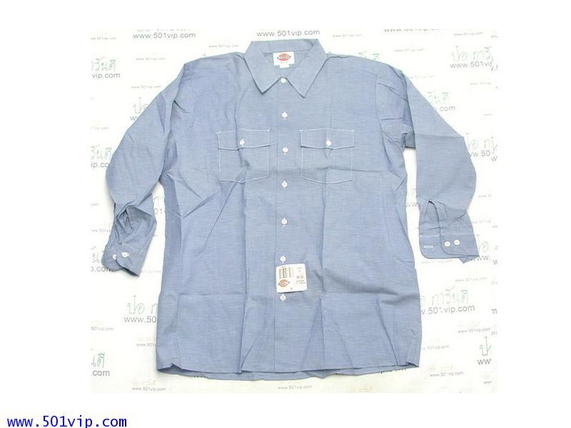 New shirt Chambray Dickies แขนยาว USA ปี 1980 ไซส XL หรือ 17 .5