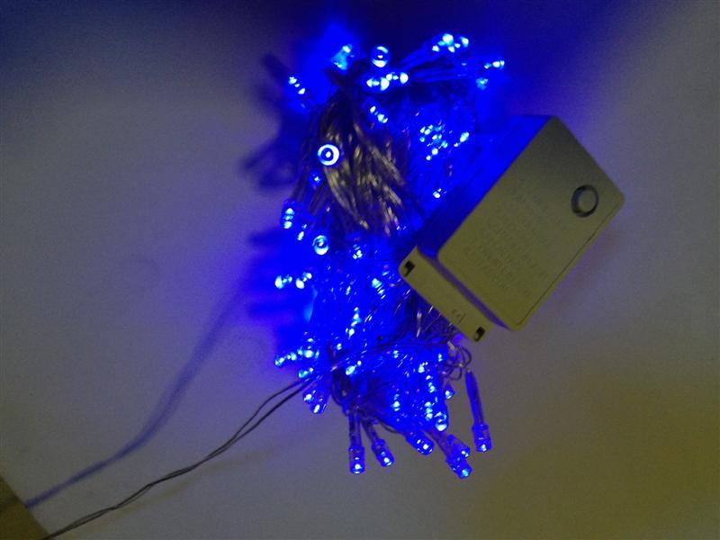 ไฟประดับ LED 100หัว กระพริบได้ สีน้ำเงิน ยาว8เมตร