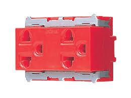 ปลั๊กกราวน์คู่ รุ่นเก่า พานาโซนิค WNG15923-7 สีแดง Panasonic