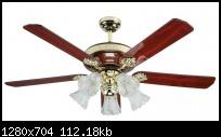 พัดลมโคมไฟ SB19 52นิ้ว 5ใบพัด สีเชอร์รี่ สวิทซ์โซ่ดึง WIN รับประกัน10ปี