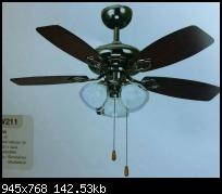 พัดลมโคมไฟ 42นิ้ว สีดำเงา 5ใบพัดไม้อัดแท้ 3โคม โซ่ดึง WIN รับประกัน1ปี