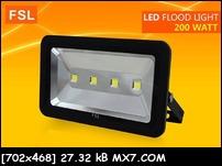 โคมสปอร์ตไลท์  แอลอีดี 200 วัตต์ แสงขาว LED FSL รับประกัน2ปี