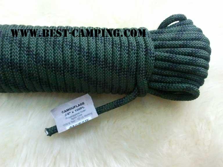 เชือกโรยตัว 3/8 นิ้ว ลายพราง , Abseil rope. Camouflage 3/8 inch x 100Ft.