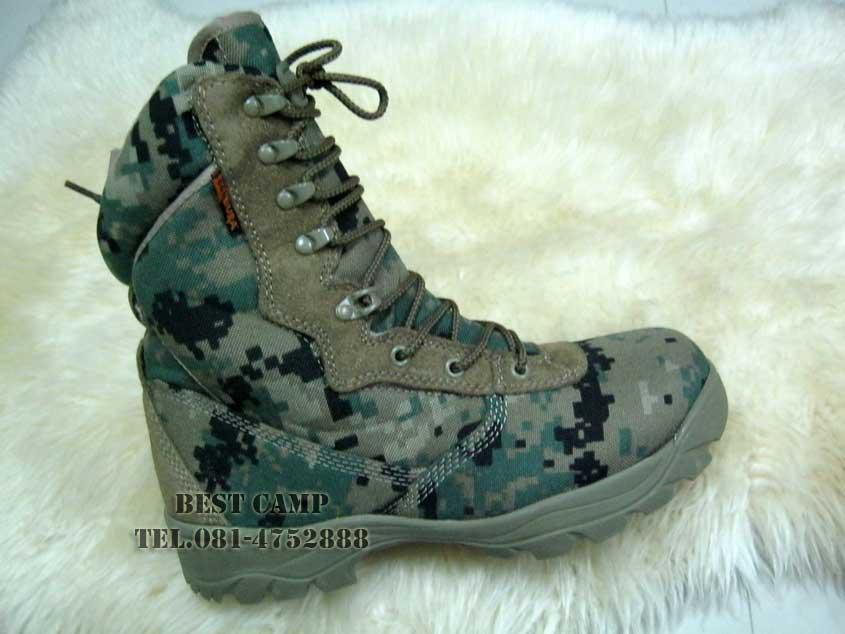 รองเท้าลายดิจิตอลสีเขียว TACTICAL , CORDURA , DG-MARINES
