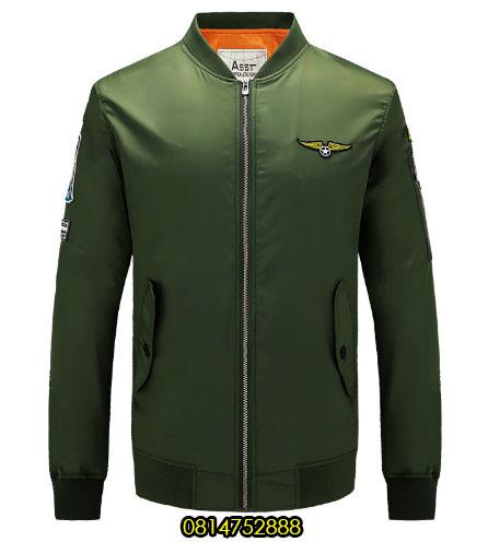 เสื้อแจ็คเก็ตนักบิน ASSTseries สีเขียว, Jacket Military Army Ma1 Green Flight Clothing M348,2016