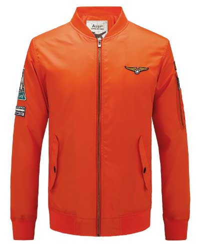 เสื้อแจ็คเก็ตนักบิน ASSTseries สีส้ม, Jacket Military Army Ma1 Orange Flight Clothing M348,2016