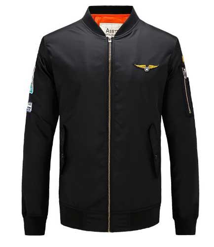 เสื้อแจ็คเก็ตนักบิน ASSTseries สีดำ, Jacket Military Army Ma1 Black Flight Clothing M348,2016